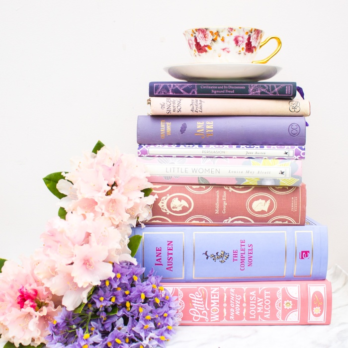 Pink and purple pastel books