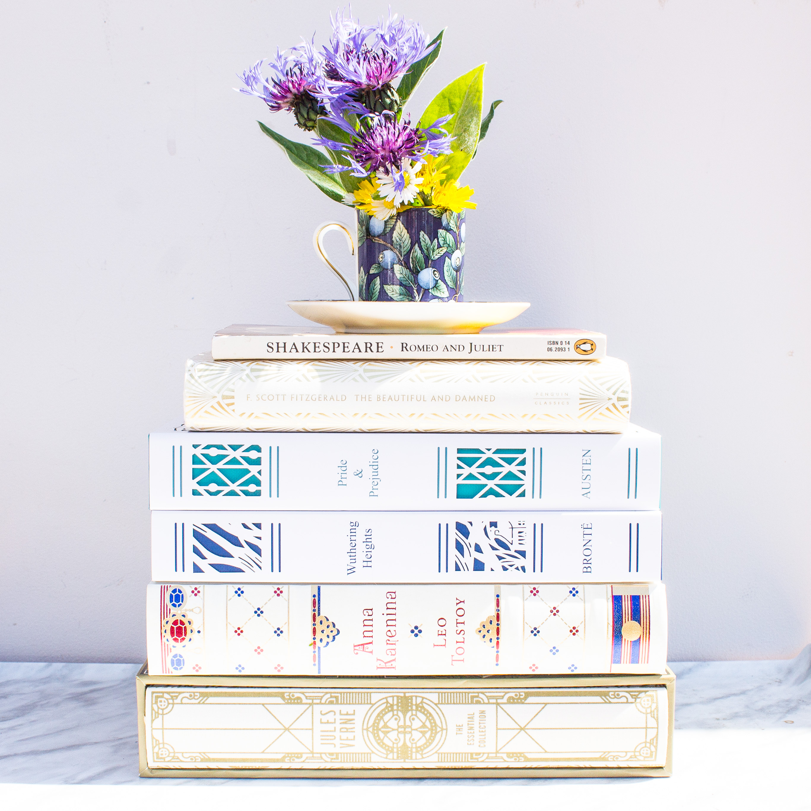 White books with flowers